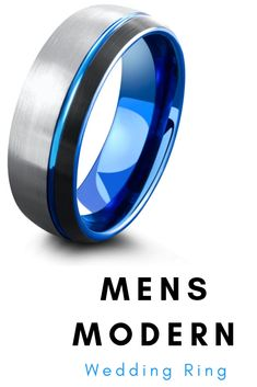 Men's unique wedding ring. This modern looking wedding ring is crafted out of tungsten carbide and features a blue carved channel. #uniqueweddingrings #weddingrings #mensweddingbands #hisring