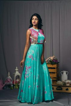 Indian Gowns Dresses, Indian Fashion Dresses, Indian Designer Outfits, Satin Dresses, Designer Dresses, Long Gown Dress, Frock Dress, Saree Dress, The Dress