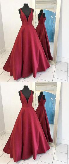 burgundy v-neck A-line satin long prom dress, PD45690