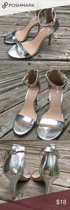 "Silver Heels 4"" These are absolutely beautiful silver heels, perfect for any glam occasion. I am reposhing these with much sadness, as they are just too small for my 9.5 feet  in perfect condition, barely look worn. PRICE FIRM on these. Mix No. 6 Shoes Heels"
