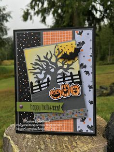 Megumi's Stampin Retreat, Stampin' Up! Spooky Fun Stamp Set, Stampin' Up! Halloween Scenes Edgelits, Stampin' Up! Halloween Night Specialty DSP, Halloween Card