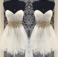 Sweetheart White A-line Tulle Short Prom Dresses #prom #promdress #promdresses #homecoming #shortdress