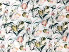 Printed Silk Gazar with Artistic Sketch Tulips