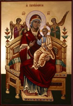 Theotokos Enthroned with Christ, surrounded  by the Angels