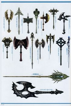 Weapon Concepts : Photo - a cool set of weapons Cosplay Weapons, Anime Weapons, Fantasy Weapons, Fantasy Rpg, Medieval Fantasy, Fantasy Defense, Sword Design, Medieval Weapons, Weapon Concept Art