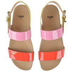 Fendi Patent Tri Colour Sandals ($205) ❤ liked on Polyvore featuring shoes, sandals, buckle sandals, bright shoes, multi color sandals, multicolor shoes and patent leather sandals