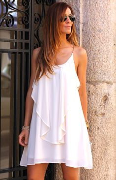 Stylish Spaghetti Strap Solid Color Ruffled Chiffon Dress For Women Stylish Dresses, Cute Dresses, Cute Outfits, Summer Dresses, Mini Dresses, White Chiffon, White Mini Dress, Women's Summer Fashion, Clothes For Women