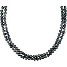 """7-8mm Black Cultured Freshwater Natural Shape Pearl Endless Necklace, 64"""""""