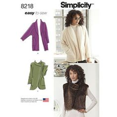 Simplicity Pattern 8218 Misses' Easy-to-Sew Jackets and Vest