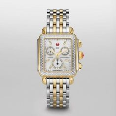 MICHELE Signature Deco Two-Tone Diamond, Diamond Dial Michele. $1518.74. Polished Stainless Steel and Yellow Gold Tone band. Polished Stainless Steel and Yellow Gold Tone case. White Mother of Pearl with Diamond Hour Markers dial. Quartz movement. 33mm x 35mm case dimension. Save 29% Off!