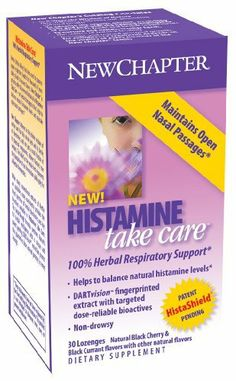 New Chapter Histamine Take Care Lozenges, 30 Lozenges by New Chapter. $20.67. Histamine Take Care™  100% Herbal Respiratory Support*     Helps to balance natural histamine levels*    DARTvision™ fingerprinted extract with targeted dose-reliable bioactives      Non-drowsy     Nettle (Urtica dioica) has been used to promote upper respiratory health   for thousands of years dating back to Ancient Greece. New Chapter® is proud   to offer this revered botanical in Histamine Ta...