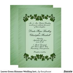 Leaves Green Shimmer Wedding Invitation