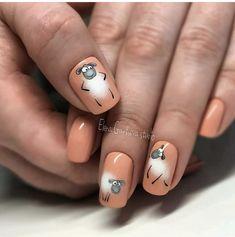 Animal Nail Designs, Animal Nail Art, Nail Art Designs, Stylish Nails, Trendy Nails, Nail Manicure, Gel Nails, Airbrush Nails, Nail Drawing