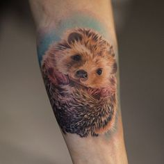 realistic hedgehog tattoo