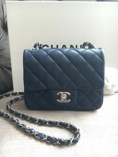 c445ed7bf3a2 Chanel square mini lambskin - navy blue  Chanelhandbags Chanel Clutch