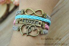 Retro bronze Love & Infinity charm braceletBlue and by Richardwu, $4.50