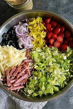 Italian Chopped Salad from - an Italian salad loaded with fresh goodness plus salami provolone pepperoncini and olives It s light yet hearty and extra flavorful with a zippy Italian vinaigrette Italian Chopped Salad, Italian Salad Recipes, Best Salad Recipes, New Recipes, Cooking Recipes, Healthy Recipes, Chopped Salads, Lettuce Salad Recipes, Chopped Salad Recipes