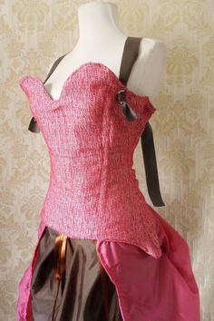 steampunk corset | steampunk steel boned corset long skirt and bustle skirt, chocolate ...