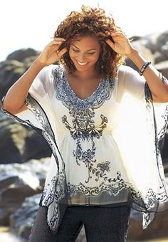 Taillissime  2-in-1 Dolman Sleeve Blouse plus size