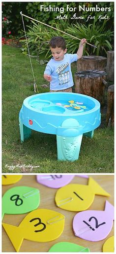 Magnetic Fishing Math Game for Kids- Fun water table game perfect for counting, number sequencing, and addition practice. (Includes tutorial on magnetic fishing pole) ~ BuggyandBuddy.com