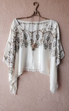 Image of Free People top tunic rare cape sleeve blue floral embroidery kaftan