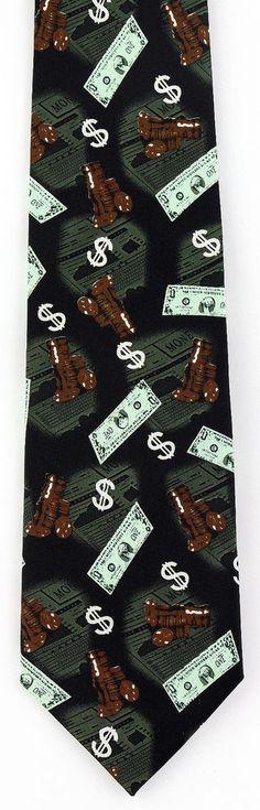 Money Mens Necktie Coin Bill Dollar Sign Banker Collecting Gift Him Neck Tie New #Parquet #NeckTie