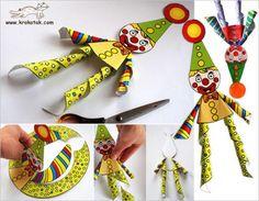 Клоун - поделка из бумаги для детей