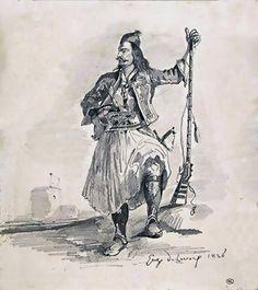 Eugene Ferdinand Victor Delacroix (1798-1863)-Figure de soldat grec, debout, tenant un fusil