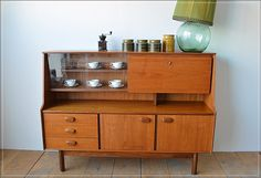 Mid Century Vintage Nathan Bookcase Sideboard Display Danish Design