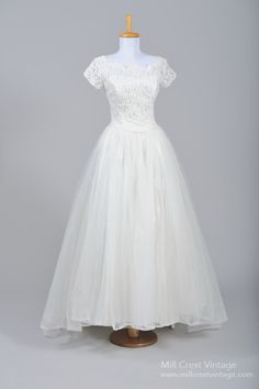 1960's Silk Satin and Lace Sweetheart Vintage Wedding Gown : Mill Crest Vintage