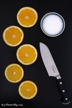 Ingredients for Candied Orange Slices in Syrup.