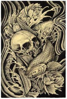 Koi & Skull by Clark NorthTattoo Art Print Japanese Asian Traditional Fish