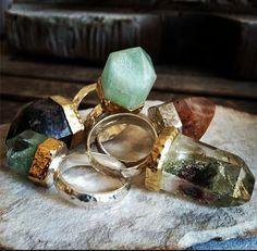 ☆ ☼ ☾ boho, large crystals rings. ☽☼ ☆