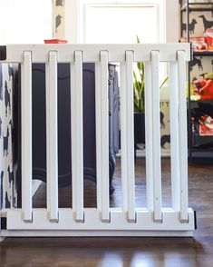 DIY An Extra Wide Gate - Yellow Brick Home Wood Baby Gate, Diy Dog Gate, Diy Gate, Diy Baby Gate, Baby Gates, Porch Gate, Diy Porch, Front Porch, Extra Wide Baby Gate
