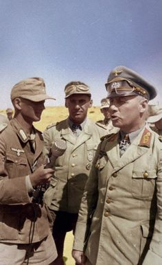 German Army reporter Gunther Halm interviewing Erwin Rommel while Fritz Bayerlein looked on, North Africa, post 22 Jun 1942 Photographer Valtingojer Source German Federal Archive Identification Code Bild Added By C. World History, World War Ii, Afrika Corps, North African Campaign, Erwin Rommel, Germany Ww2, German Army, Luftwaffe, Panzer