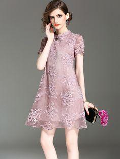Romance Pink Floral Qipao / Cheongsam Dress in Mulberry Silk