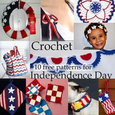 Crochet Independance Day: 10 Free of July Patterns! Crochet Round, Free Crochet, Knit Crochet, Moogly Crochet, Quick Crochet, Holiday Crochet, Halloween Crochet, Crochet Crafts, Crochet Projects