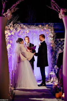 outdoors winter wedding ceremony
