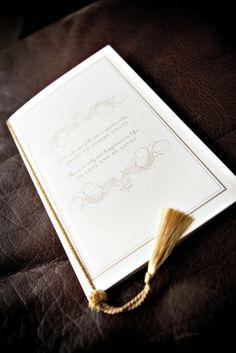 portfolio - izzy girl :: an invitation design co. Invitation Design, Invitations, Order Of Service, Tassel, Gold, Tassels, Invitation, Fringes, Yellow