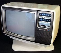 Vtg 1981 TOSHIBA BLACKSTRIPE Model CA360 Pedestal Television Classic Retro White #Toshiba