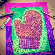 Scratch Art with Oil Pastels. Many layers and many scratches make a pretty and colorful mitten. #scratchart