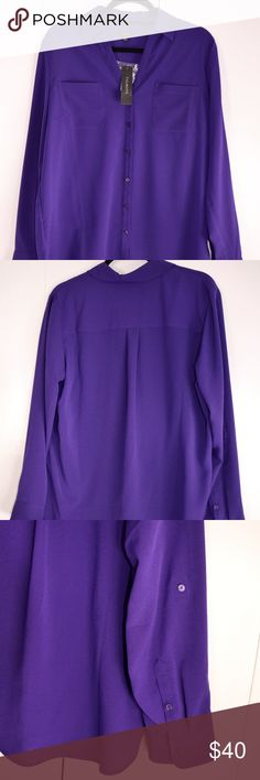 """NWT Talbots Purple Tab Sleeve Blouse sz L Beautiful, rich royal purple that is not done justice by the camera!  The color is an absolutely gorgeous jewel-tone blouse with two front pockets and tabbed sleeves.  This blouse is perfect with trousers, skirts, suits for work, or worn loose with jeans or leggings for a more casual look.   Measures 27"""" long, 21.5"""" across the chest, with 24"""" sleeves with unrolled. Poly material, easy machine wash care. Talbots Tops Blouses"""