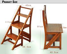 Silla escalera Wooden Folding Chairs, Folding Furniture, Dream Furniture, Space Saving Furniture, Home Decor Furniture, Furniture Projects, Wood Furniture, Furniture Design, Pallet Furniture Shelves