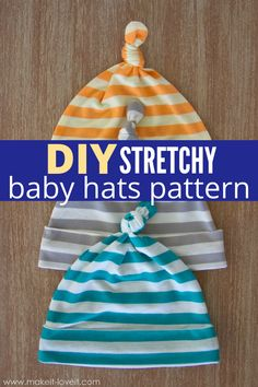 DIY Stretchy Baby Hats is an easy baby beanie tutorial. I share the pattern you need to make your own baby hats! #tutorial #pattern #sewing #diy #stretchy #babyhat #beanie #forbabies #topknots