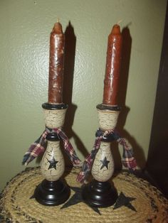Primitve Candlesticks & Grubby Candles ~ Crackle Tan Black Star ~ Country Decor #Country