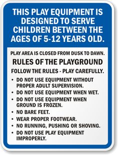 playground signs | Home > Property Signs > Rules Signs ...