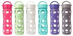 glass water bottle with a silicone cover. They're eco-friendly, virtually unbreakable, and come without that yucky metal or plastic taste from other reusable bottles. Glass Water Bottle, Glass Bottles, Drink Bottles, Baby Bottles, Reusable Water Bottles, Shops, Green Gifts, Workout Gear, Bunt