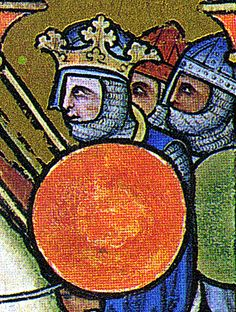 Joshua battles Amalek (detail). Norman-style Spangenhelms with nasals and round shields.