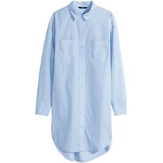 H&M Oversized cotton shirt ($17) ❤ liked on Polyvore featuring tops, dresses, shirts, blouses, vestidos, light blue, blue long sleeve shirt, light blue shirt, blue top and oversized tops