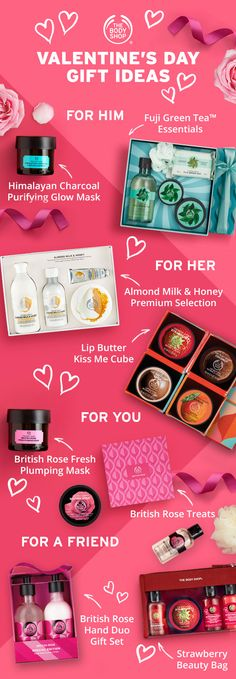 In need of Valentine's Day gift inspiration? Whether you're shopping for gifts for him, her, friend or treating yourself, visit our Valentine's gifting hub to. The Body Shop, Body Shop At Home, Valentine Day Gifts, Valentines, British Rose, Glow Mask, Inspirational Gifts, Gifts For Him, Body Care